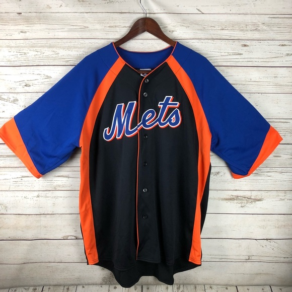 sale retailer cd55e c9c9e Majestic NY Mets Black Button Jersey XL